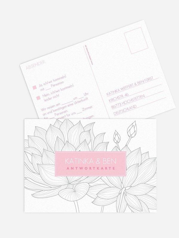 Antwortkarte Hochzeit Wasserlilie