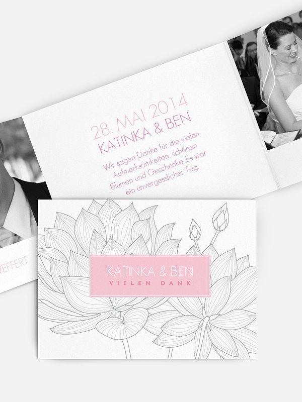 Dankeskarte Hochzeit Wasserlilie