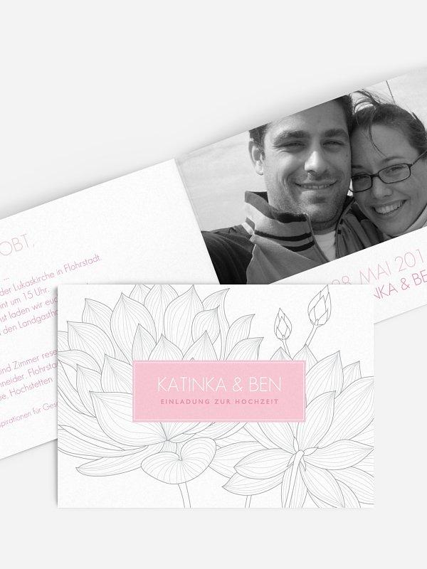 Hochzeitseinladung Wasserlilie