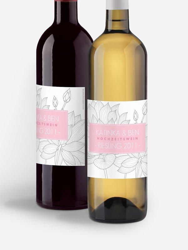 Flaschenetikett Hochzeit Wasserlilie