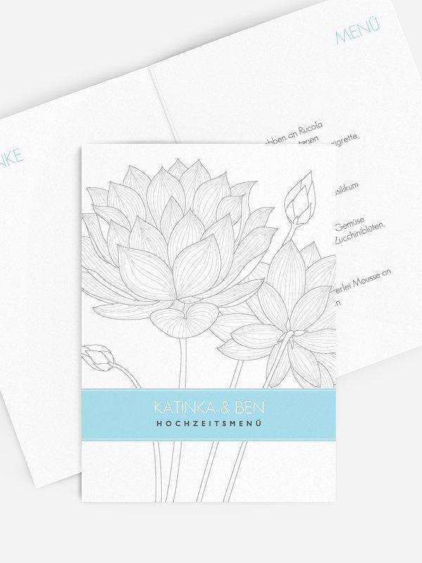 Menükarte Hochzeit Wasserlilie