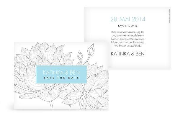 "Save-the-Date Karte ""Wasserlilie"""