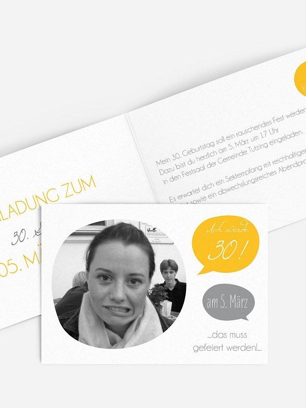 Einladung 30. Geburtstag Message