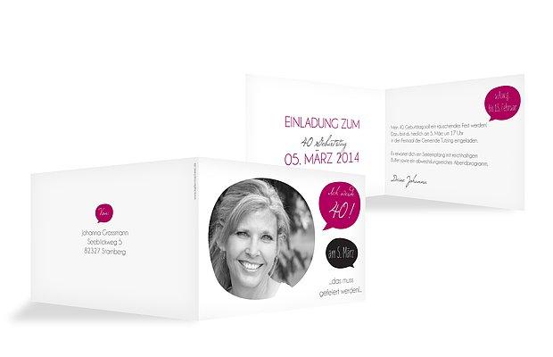 Einladung 40. Geburtstag Message