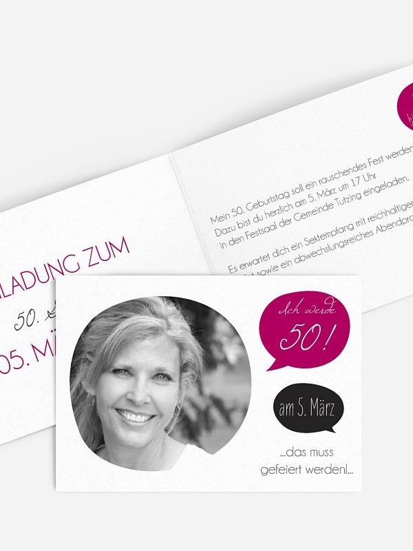 Einladung 50. Geburtstag Message