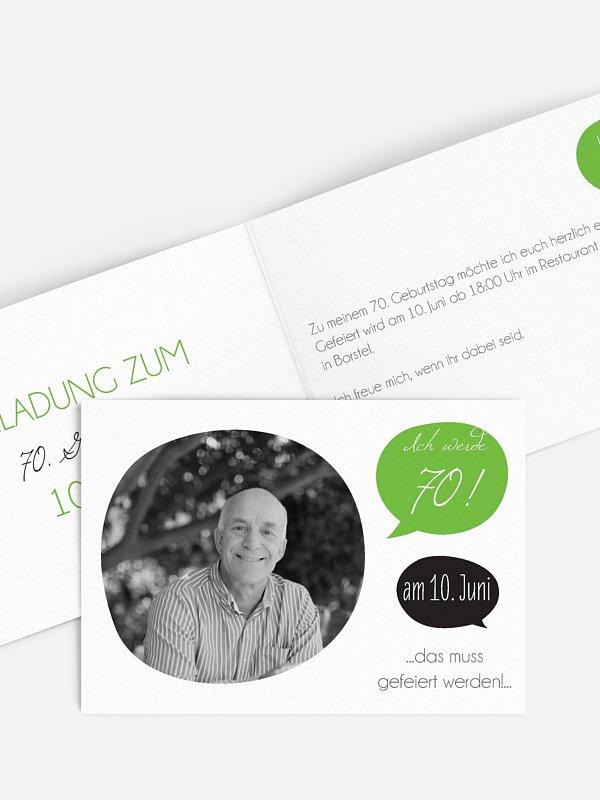 Einladung 70. Geburtstag Message