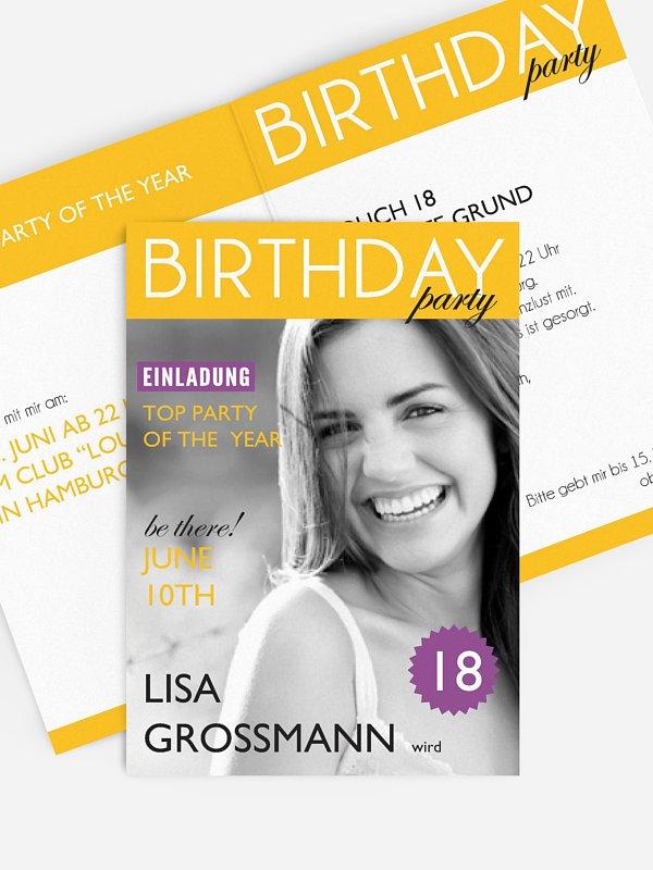Einladung 18. Geburtstag Magazin