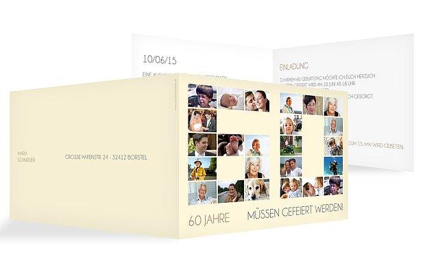 Einladung 60. Geburtstag Fotozahl