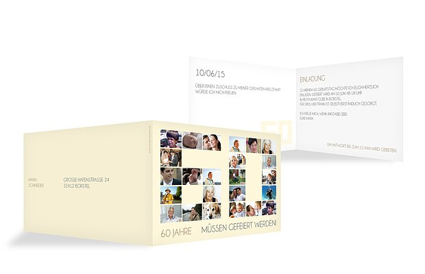 """Einladung 60. Geburtstag """"Fotozahl"""""""