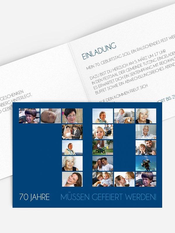Einladung 70. Geburtstag Fotozahl