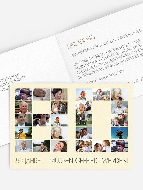 Einladung 80. Geburtstag Fotozahl