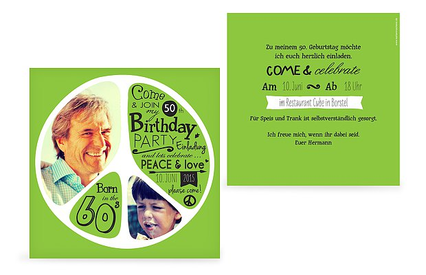 Einladung 50. Geburtstag Peace
