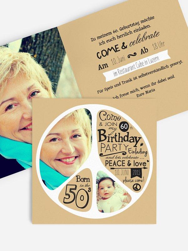 Einladung 60. Geburtstag Peace