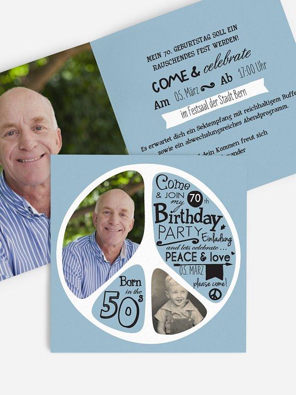 Einladung 70. Geburtstag Peace