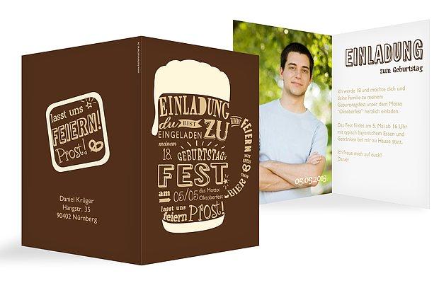 """Einladung 6 Geburtstag: Einladung Zum Geburtstag """"Bierkrug"""""""