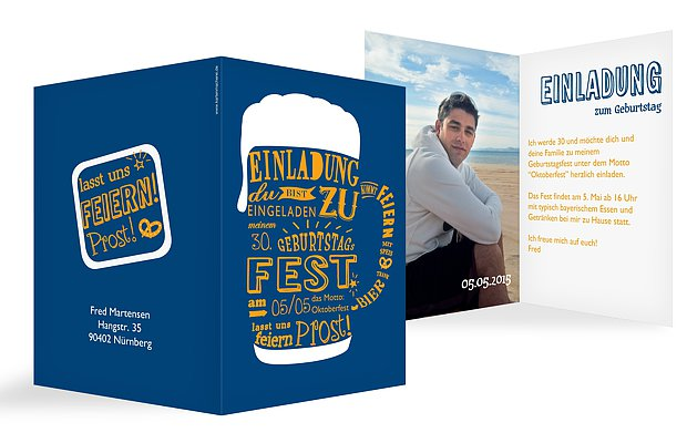 Einladung 30 Geburtstag Bierkrug
