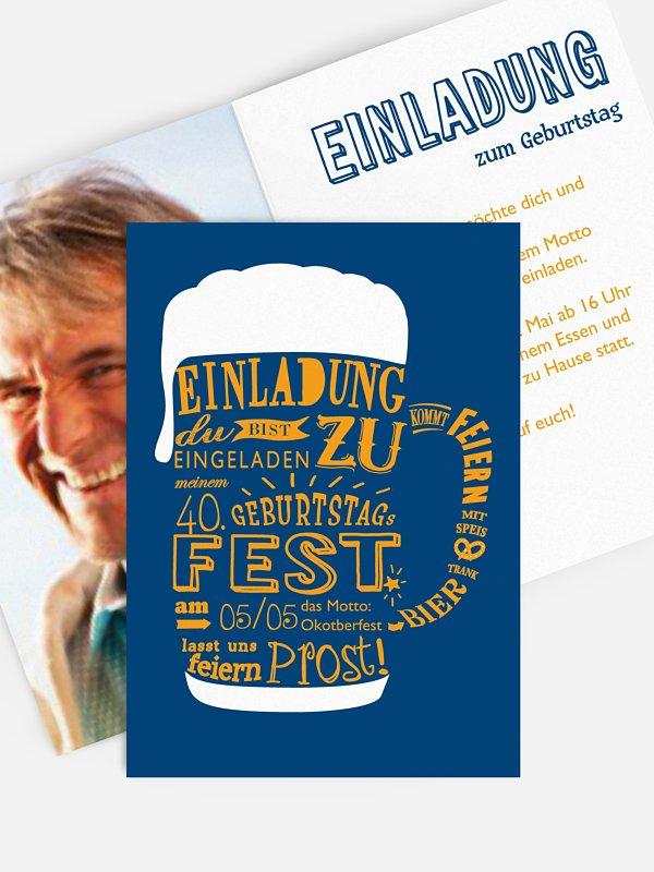 Einladung 40. Geburtstag Bierkrug