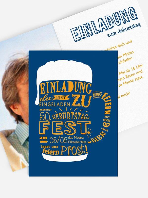 Einladung 50. Geburtstag Bierkrug