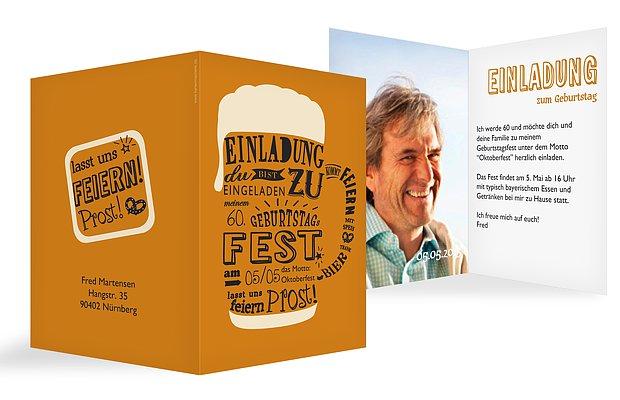 Einladung 60 Geburtstag Bierkrug