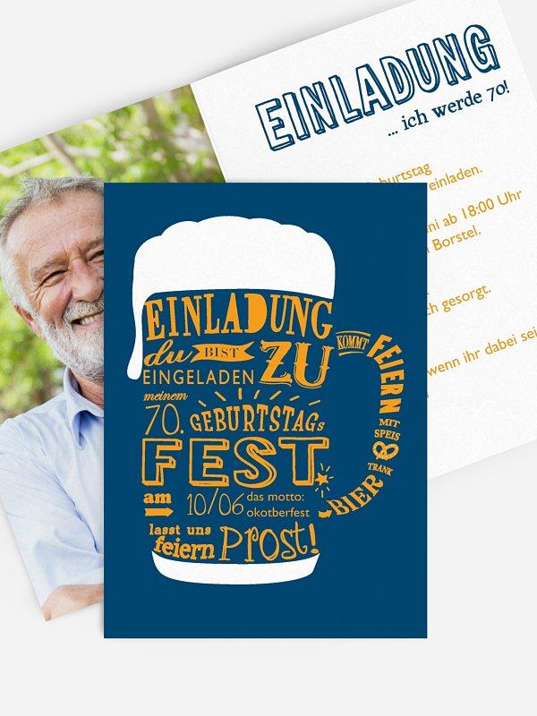 Einladung 70. Geburtstag Bierkrug