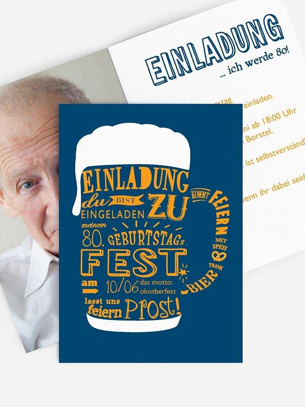 Einladung 80. Geburtstag Bierkrug