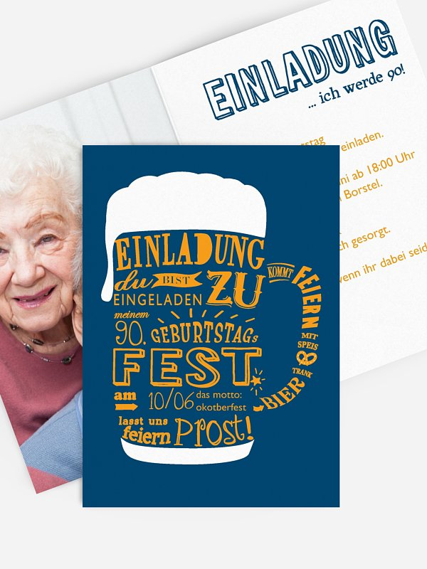 Einladung 90. Geburtstag Bierkrug