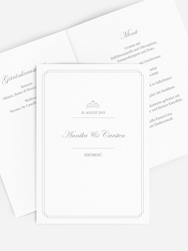 Menükarte Hochzeit Noblesse