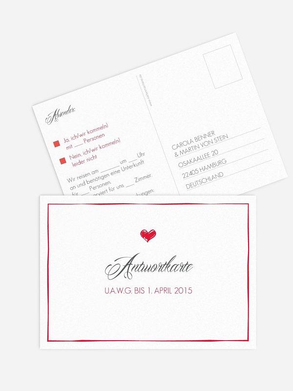Antwortkarte Hochzeit Herzlich