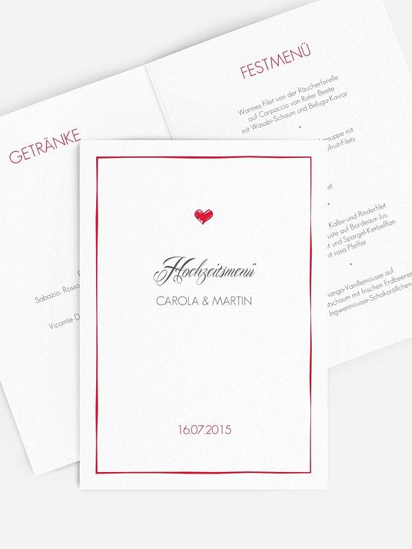Menükarte Hochzeit Herzlich