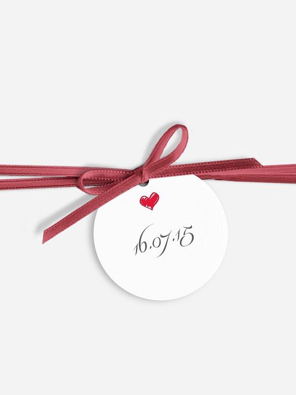 Étiquette avec ruban Par amour