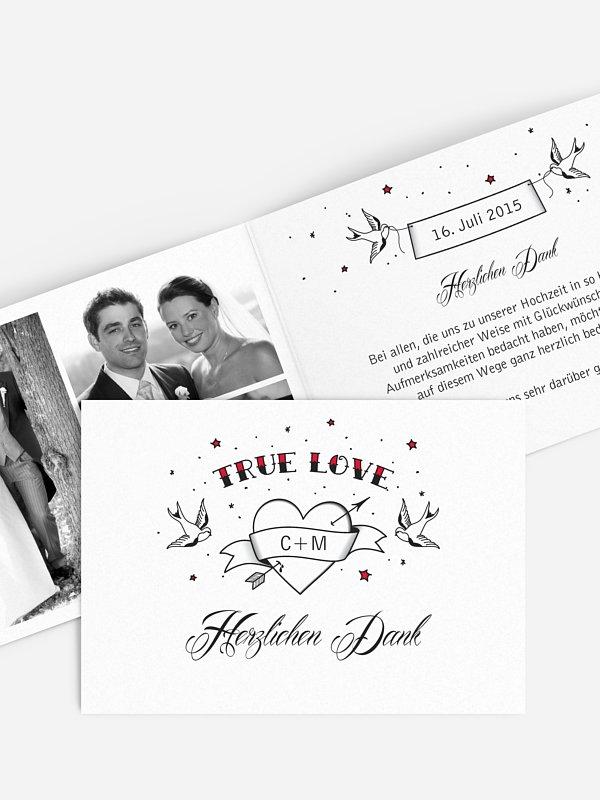 Dankeskarte Hochzeit True Love