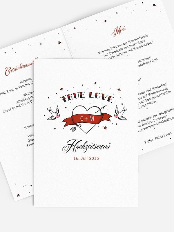 Menükarte Hochzeit True Love