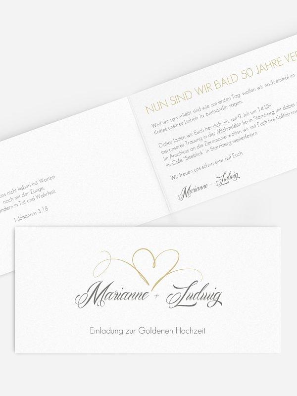Einladung zur Goldenen Hochzeit Herzschlag