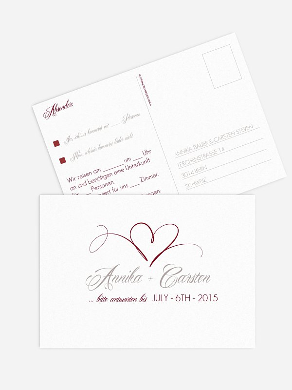 Antwortkarte Hochzeit Herzschlag