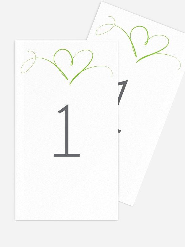 Numéro de table mariage En plein coeur