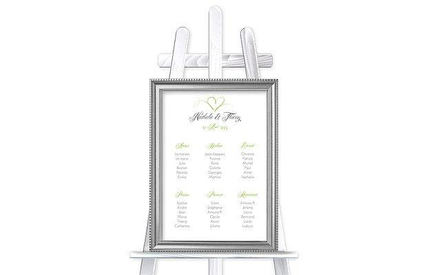 Poster plan de table mariage En plein coeur