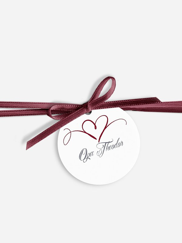 Anhänger mit Band zur Hochzeit personalisiert Herzschlag