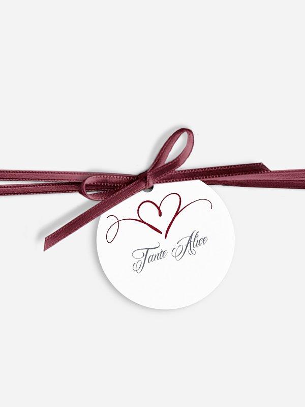 Étiquette avec ruban mariage individuelle En plein coeur