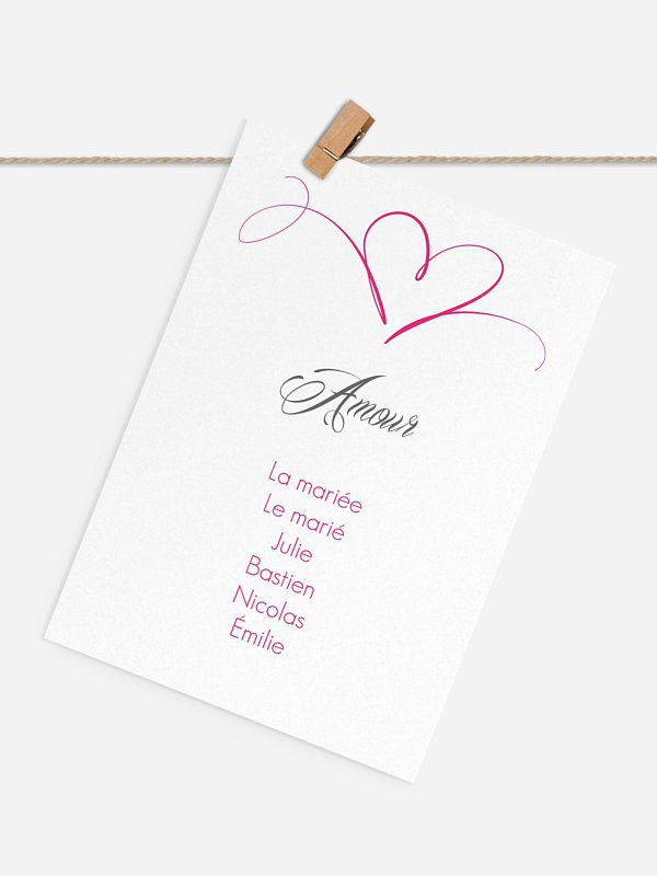 Cartons plan de table mariage En plein coeur