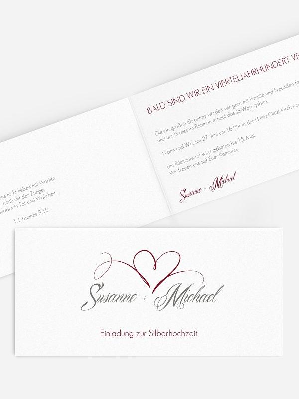 Einladung zur Silberhochzeit Herzschlag