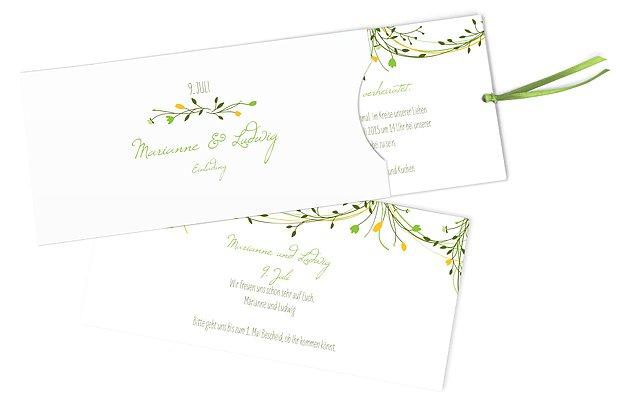 Einladung Goldene Hochzeit Blumengirlande