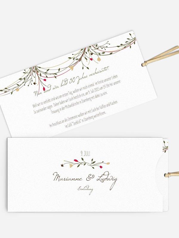 Einladung zur Goldenen Hochzeit Blumengirlande