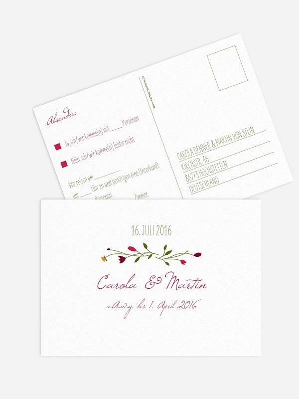 Antwortkarte Hochzeit Blumengirlande