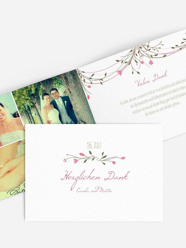 Dankeskarte Hochzeit Blumengirlande