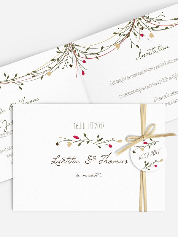 Faire-part mariage Guirlande de fleurs