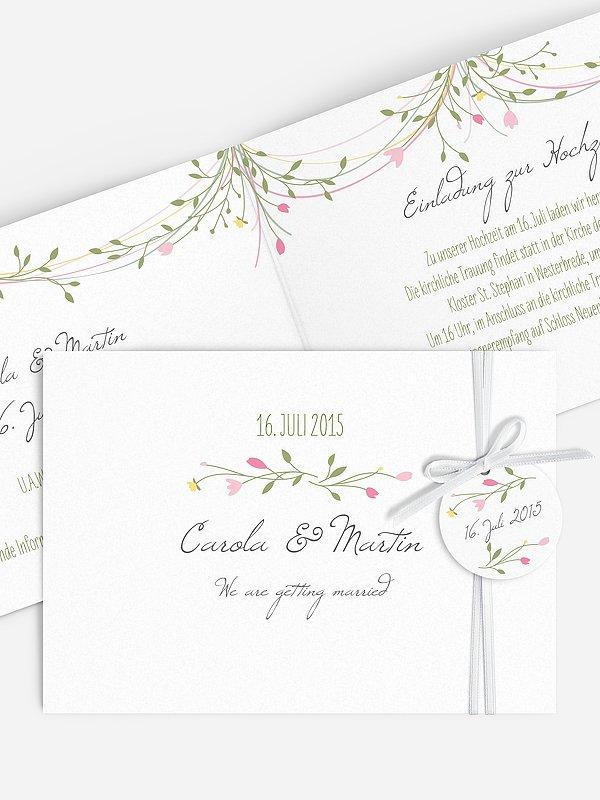 Hochzeitseinladung Blumengirlande