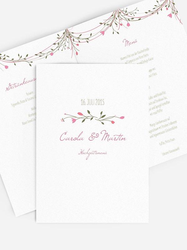 Menükarte Hochzeit Blumengirlande
