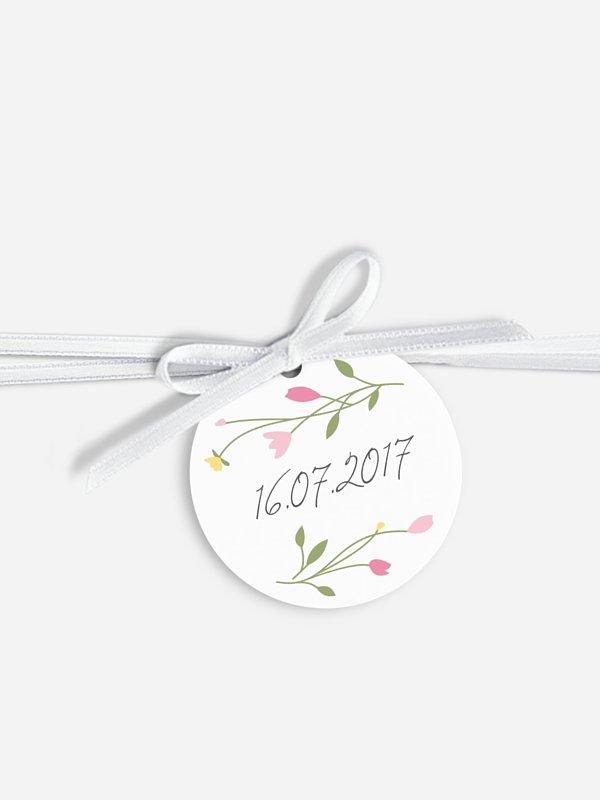 Étiquette avec ruban Guirlande de fleurs
