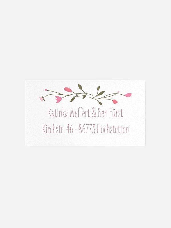 Empfängeraufkleber Hochzeit Blumengirlande