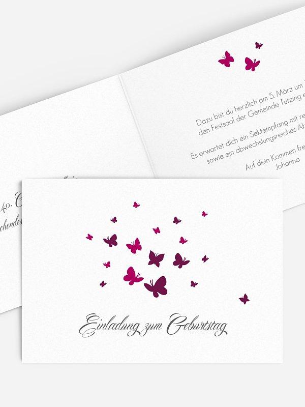 Einladung 40. Geburtstag Butterflies